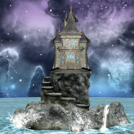 Fairy tale series - castle over an island Stock Photo - 11212295