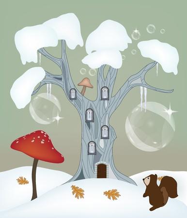 champignon magique: hiver, l'amour de la s�rie - l'illustration d'hiver fantastique Illustration