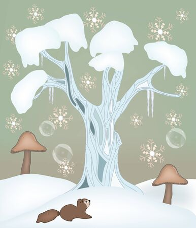 winter love - winter fairy illustration  Vector