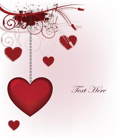 San Valentín tarjeta postal con la decoración de grunge y espacio para el texto
