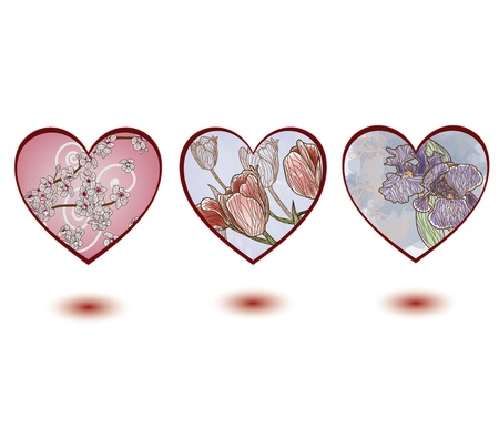hearts with floral decorations  Vector