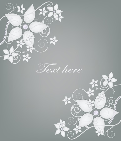 elegant invitation card with flowers and diamonds  Vector