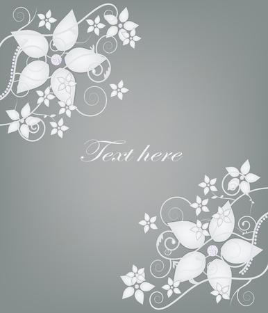 flowery: tarjeta de invitaci�n elegante con flores y diamantes Vectores