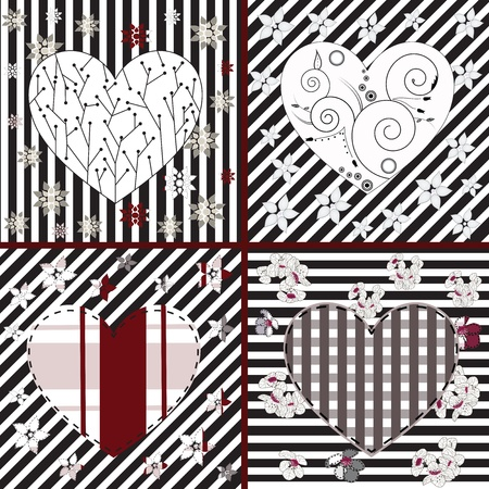 patchwork pattern: collection of artistic hearts in different styles