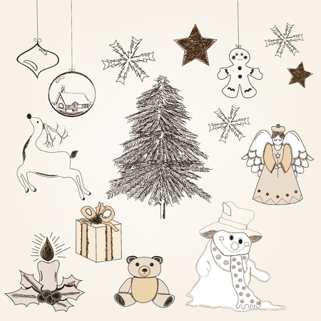 collection of hand drawn christmas elements in vintage style  Vector