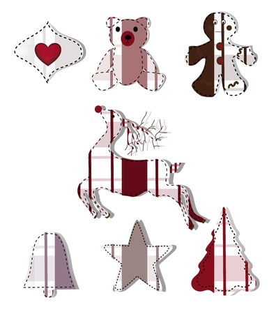 collection of christmas elements made in patchwork style  Vector