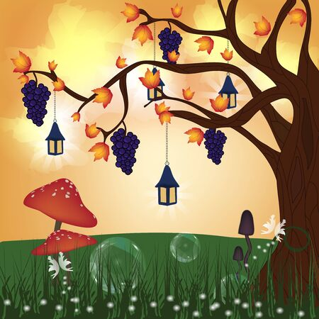 Fantasy nature series - fantasy autumn hill  Vector