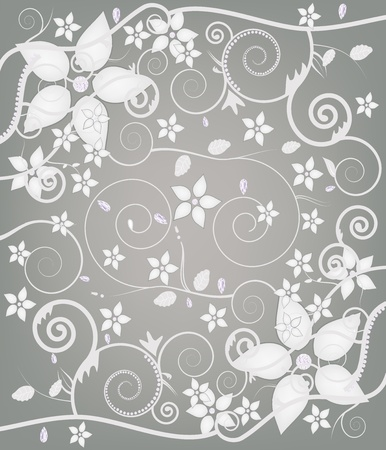 seamless floral decoration with different kind of diamonds  Vector