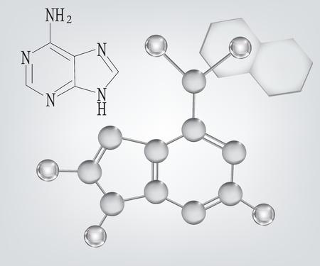 enlaces quimicos: qu�mica - la f�rmula de adenina y la estructura