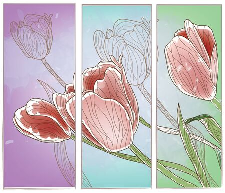 tulip flower: artistic panel with tulips or set of banners in different colors  Illustration