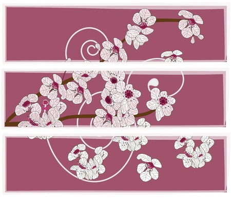 peach blossom: artistic set of banners with cherry blossom branch