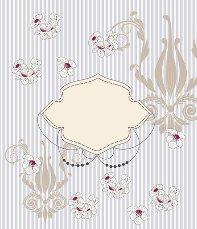 holy leaves: elegant invitation card with baroque patterns and cherry blossoms  Illustration