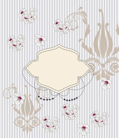 bautizo: tarjeta de invitaci�n elegante con los patrones de estilo barroco y los cerezos en flor