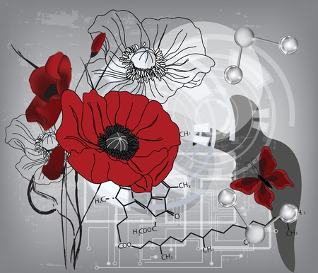 poppies: modern poppies composition with water molecules and chlorophyll formula - All elements are on separate layers - easily editable  Illustration