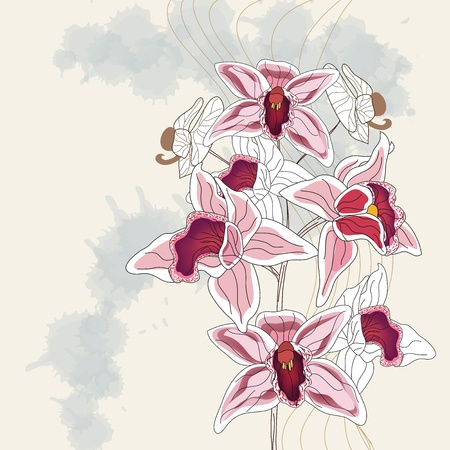 artistic branch of orchid with space for text