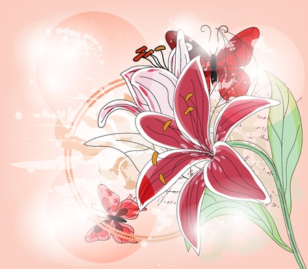 fuchsia flower: Spring artistic background with big lily Illustration