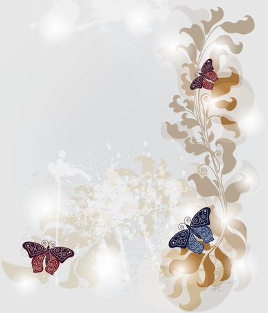 silver anniversary: grunge invitation card with baroque butterflies and space for text