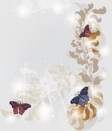 marcos decorados: grunge tarjeta de invitaci�n con las mariposas del barroco y el espacio para el texto