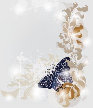 bodas de plata: grunge plantilla con la mariposa grande y espacio para el texto