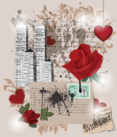 picture postcards: love memories composition - layers separated