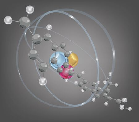 nucleus: big molecule and atomic structure - layers separated - easily editable  Illustration