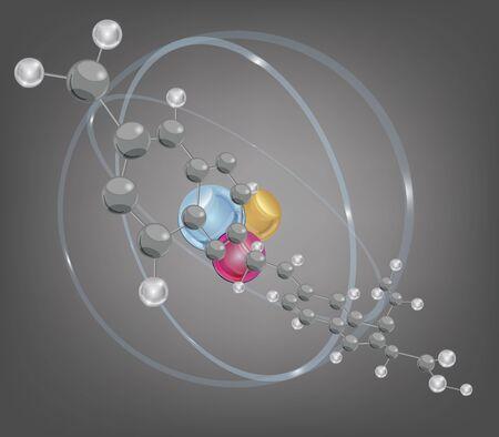 enlaces quimicos: mol�cula grande y estructura at�mica - capas separadas - f�cilmente editable