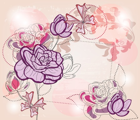 artistic composition with roses, butterflies and space for text - layers separated - easily editable  Vector