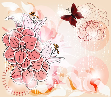 artistic template with big camellia flowers, lily buds and space for text - layers separated - easily editable  Vector