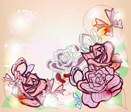 composition with roses, fantasy butterflies and space for text - layers separated - easily editable  Vector