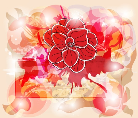 camellia: invitation card with vivid colors, big camellia and space for text - easily editable - layers separated  Illustration