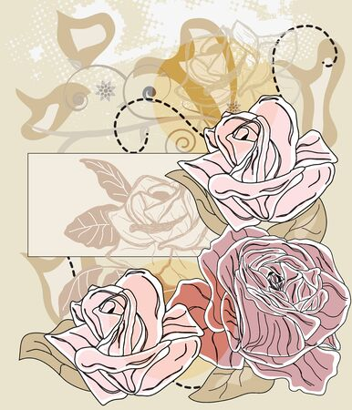 romantic card with roses and label for text - All elements are on separate layers - easily editable  Vector