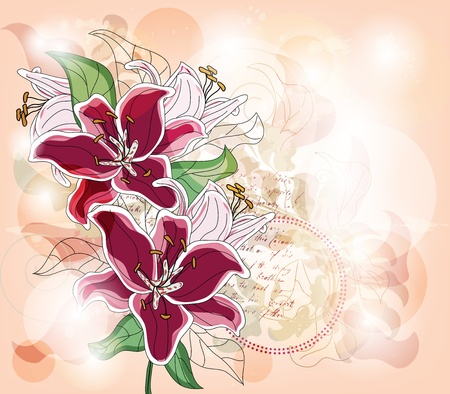 fuchsia flower: greeting card with big lilies and space for text - layer separated - easily editable