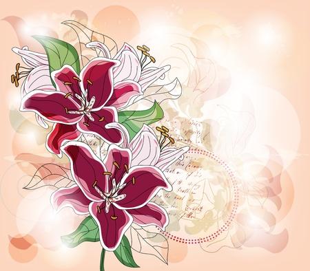 flores fucsia: tarjeta de felicitación con lirios grandes y espacio para el texto - capa separada - fácilmente editables Vectores