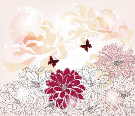 papillon rose: composition florale artistique