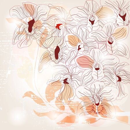 Artistic orchid invitation card Vector