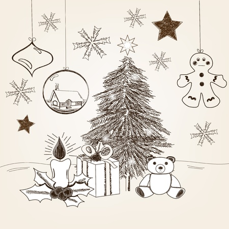 hand drawn christmas scene in vintage style