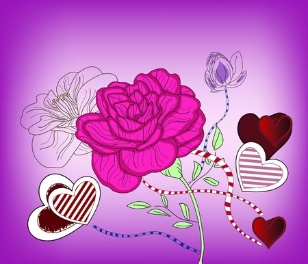 fuchsia: composition with big rose and hearts - layers separated - easily editable
