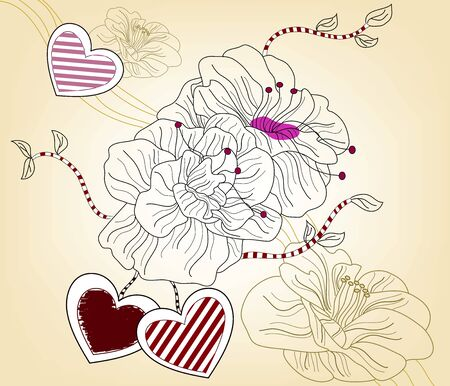 artistic valentine composition with big flowers and hearts - layers separated - easily editable Vector