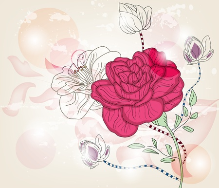 fuchsia flower: romantic postcard with big rose and space for text - layers separated - easily editable