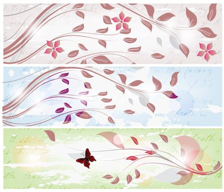 set of tree spring banners  Vector