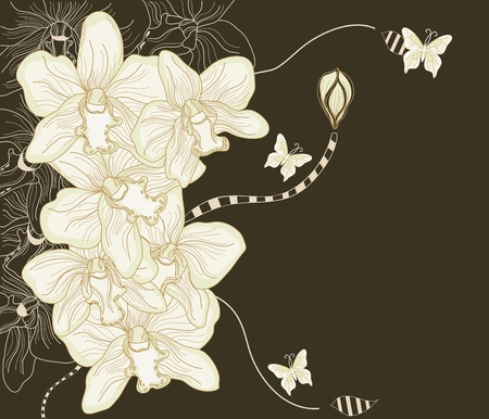 hand drawn flower: Hand drawn fantasy orchid composition  Illustration