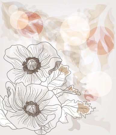 romanticism: hand drawn template with big flowers and space for text