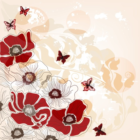 poppies: artistic invitation card with poppies and butterflies