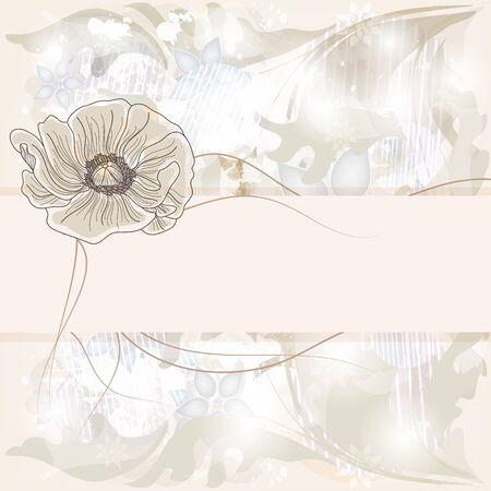 outdoor wedding: shining invitation card with big poppy flower