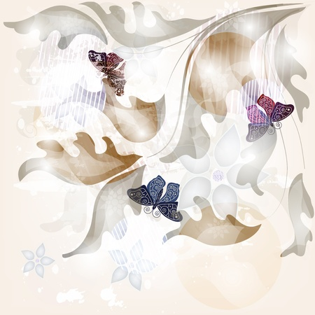 shining abstract invitation card with butterflies Vector
