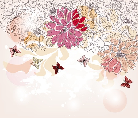 artistic hand drawn spring composition Vector