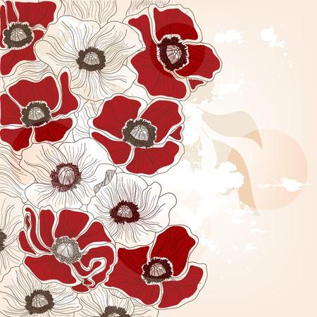 poppy field: amapolas composici�n de la vendimia Vectores