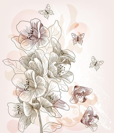 cerisier fleur: Carte postale artistique avec dessin�s � la main fleur de cerisier Illustration