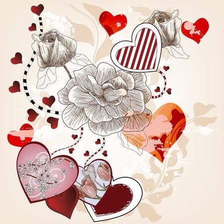 San Valentín de fondo con rosas y corazones dibujados a mano artísticas Foto de archivo - 12352532