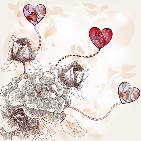 vintage fantasy postcard with hand drawn roses and artistic hearts Vector